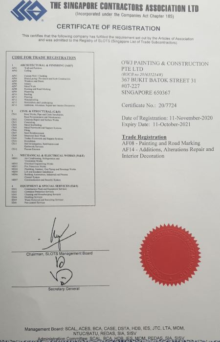 Certificate for painting service